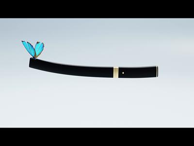 Katana 🦋 wings blade metallic black webdesign ui  ux cycles blender gradient sword japanese katana gif loop procedural butterfly 3d design ux animation