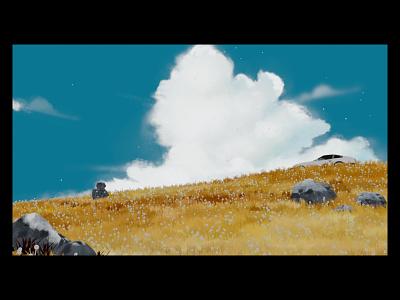 Strawberry Hills landscape sky ghibli grass field nature design blender minimal web vector loop logo illustration animation 3d