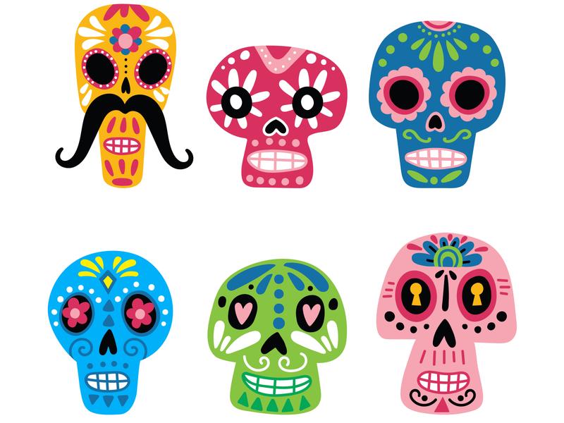 Mexican skulls design vector illustration