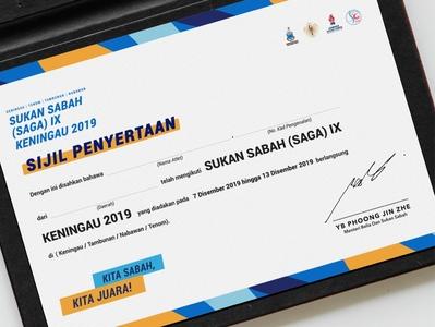 Sabah Games (SAGA) IX Keningau 2019 sports game certificate graphic design graphicdesign brand identity logodesign logo visual identity identity design art direction branding brand brand design design