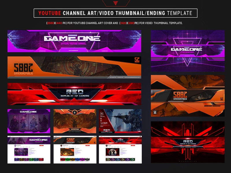 Gamers Youtube Channel Art Photoshop Template