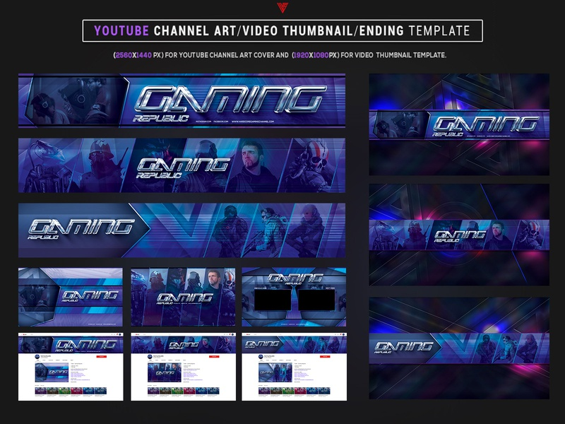 Esports Gaming Republic Youtube Channel Art Photoshop Template aesthetic retrowave gaming discord twitch gamer youtube album artwork esport esports cyberpunk futuristic photoshop template graphicdesign youtube logo youtube banner youtuber youtube channel
