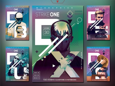 STRIKE ONE PHOTOSHOP FLYER/POSTER TEMPLATE poster template soundcloud itunes spotify music event dj gradient aesthetic techno illustration youtube banner design photoshop template futuristic edm electro cyberpunk graphicdesign