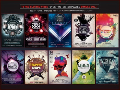 10 PSD Electro Vibes Flyer/Poster Template Bundle Vol. 1