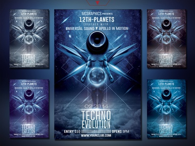 Techno Evolution Photoshop Flyer Template