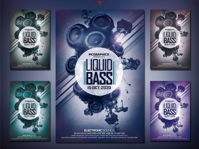 Liquid Bass Photoshop Flyer Template