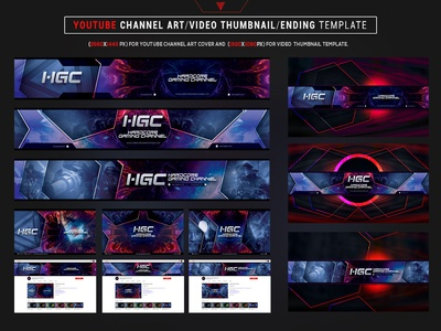 Youtube Channel Art/Video Thumbnail and Ending Video Template