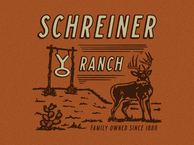 YO Ranch Whitetail Illustration hunting t-shirt design shirt design hunting t-shirt ranch illustration deer whitetail hunting austin brand logo identity branding