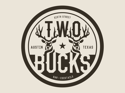 Two Bucks Bar identity branding logo bucks two sixth street texas austin
