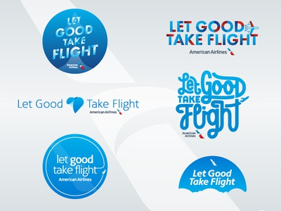 Let Good Take Flight (1/2) american airlines logo identity branding nonprofit hand lettering monoline