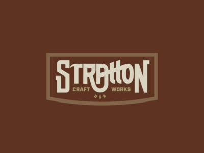 Stratton craft furniture brand branding identity monoline hand lettering custom type logo