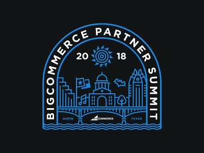 BC Partner Summit T-Shirt tech ecommerce bigcommerce summit partner event tshirt art tshirt river monoline skyline austin texas bat congress austin illustration branding