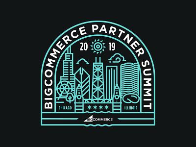 BC Partner Summit Chicago tshirt shirt tech summit skyline river partner monoline illustration event ferris wheel willis bean branding bigcommerce illinois chicago