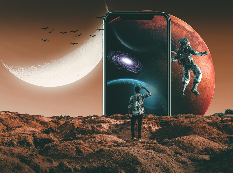Technology and Space with human typography ux vector branding ui logo illustration wallpaper color grading photoshop art photoshop visual visual design visual art