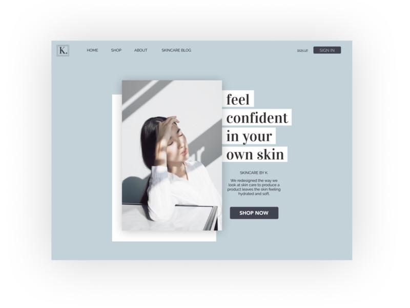 SKINCARE BY K. flat typography website web web design branding ux ui app design