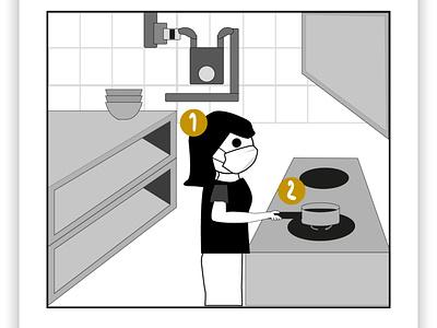 Singapore Hawker cartoon vector minimalist white black cartoon illustration illustrator cooking hawker cartoon local singapore