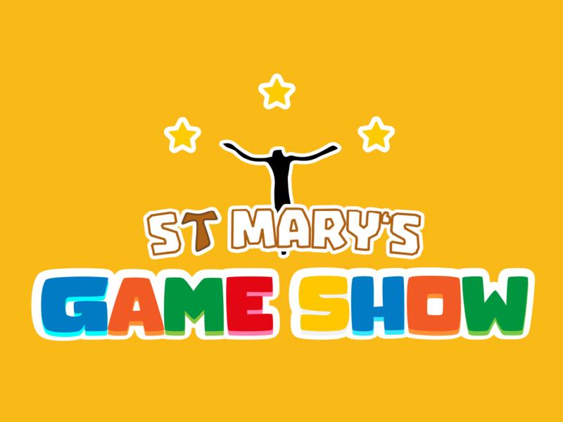 church game show logo flatdesign illustrator ui game art kids yellow saint mary star cross tau franciscan francis church logo design show game logo
