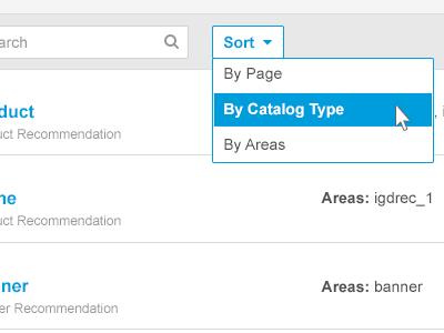 Web recs dashboard sort menu