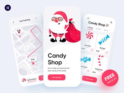 Christmas Candy Shop santaclaus merrychristmas product design uidesign uikit santa merry xmas xmas app illustration design ui vector free 18design