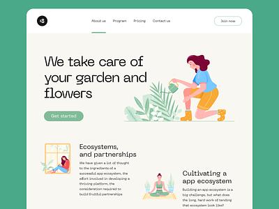 Miriday Illustrations ☘ minimalistic minimalist minimal plant plants grow garden ui8net design landing ui8 ux flowers character illustration clean clean ui minimalism ui 18design