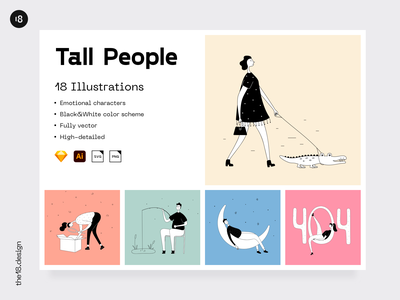 Tall People Illustrations ui8 landing outline colors stylish web website error interface character illustration uidesign clean 18design clean ui minimalism colorful ui product screens