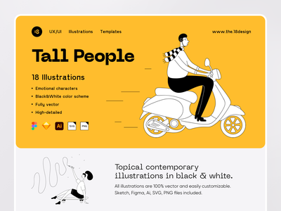 Tall People Illustrations ux ui productdesign site webdesign website bike delivery ui8net ui8 uikit vector character interface illustration uidesign clean clean ui minimalism 18design