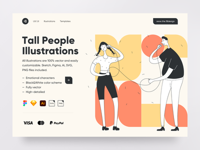 Tall People Illustrations typography header hero color lage landing page ux ui design landing ui8 vector character interface illustration uidesign clean clean ui minimalism ui 18design