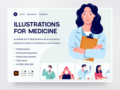 Medicine Illustrations colorful clinical clinic doctor medical app medical medicines medicine corona mask character illustration uidesign clean clean ui ui minimalism 18design