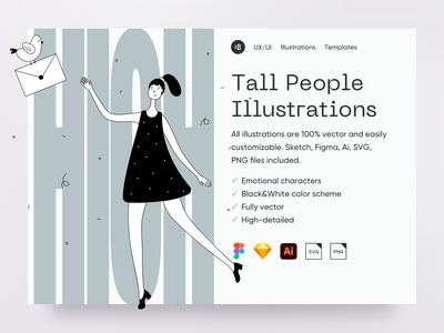 Tall People Illustrations main people tall high svg girl email mail landing hero vector character interface illustration ui uidesign clean clean ui minimalism 18design