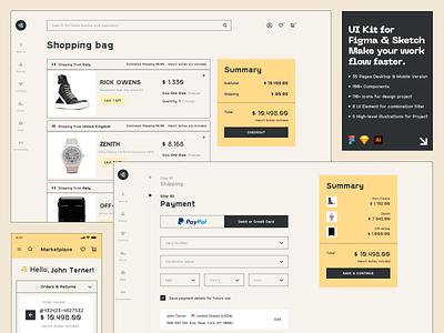 Marketplace UI Kit ✨ rick owens minimalist minimal payment summary marketplace market shop shopping usability ux typography branding interface illustration uidesign clean clean ui minimalism 18design