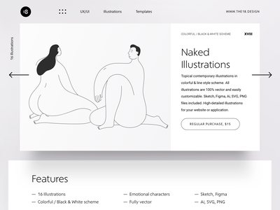 Naked Illustrations product design product uiux landing hero ui design ux minimalistic minimalist minimal vector character interface illustration uidesign clean ui clean ui minimalism 18design