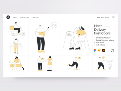 Delivery Illustrations 😍 digital colorful colorscheme delivery truck delivery app delivery deliver minimalistic minimalist minimal vector character interface illustration uidesign clean ui clean ui minimalism 18design