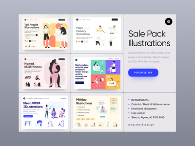 Sale Pack Illustrations 😍 typography colorful colors download purchase clean design cleaning minimalistic minimalist minimal vector character interface illustration uidesign clean ui clean ui minimalism 18design
