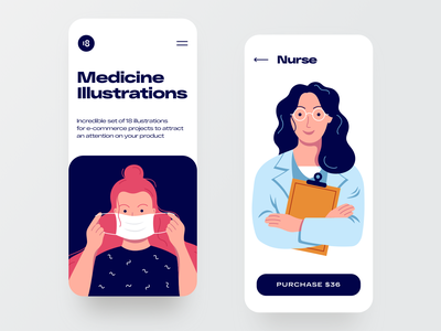 Medicine illustrations 🌿 mask typogaphy colorful colors medical app medicinal medicines medical medicine nurse vector character interface illustration uidesign clean ui clean ui minimalism 18design