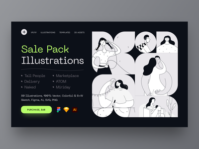 Sale Pack Illustrations web sale stylish black  white typogaphy colorful clolors minimalistic minimalist minimal vector character interface illustration uidesign clean ui clean ui minimalism 18design