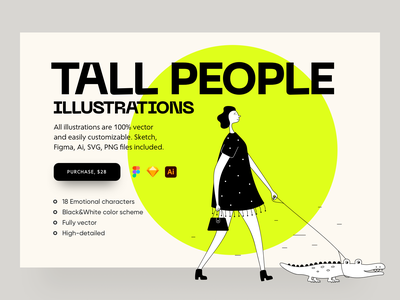 Tall People Illustrations shopaholic black  white market marketplace girl illustration shopper shopping shop crocodile girl vector character interface illustration uidesign clean ui clean ui minimalism 18design