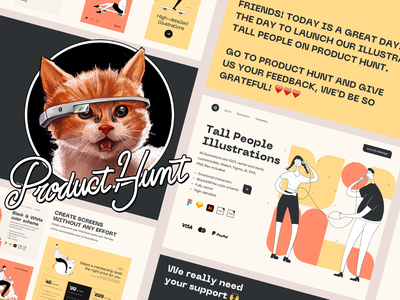 Producthunt Tall People illustrations productdesign product superb digital typogaphy colorful colors character clean design minimalistic minimalist minimal product hunt producthunt uidesign clean ui clean ui minimalism 18design