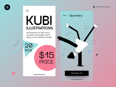 Kubi Illustrations ✨ colorful minimalistic minimalist minimal people illustration people geometic geometry blackandwhite black  white vector character interface illustration uidesign clean ui clean ui minimalism 18design
