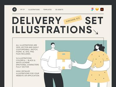 Delivery Illustrations 😍 courier delivery service delivery status delivery truck delivery app delivery minimalistic minimalist minimal colorful vector character interface illustration uidesign clean ui clean ui minimalism 18design