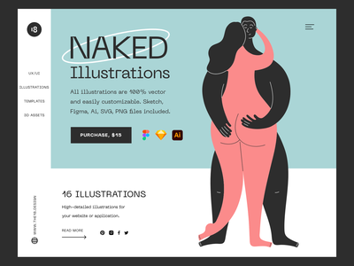 Naked Illustrations 😍 typography colors colorful couple illustration girl sexy love couple nude naked vector character interface illustration uidesign clean ui clean ui minimalism 18design
