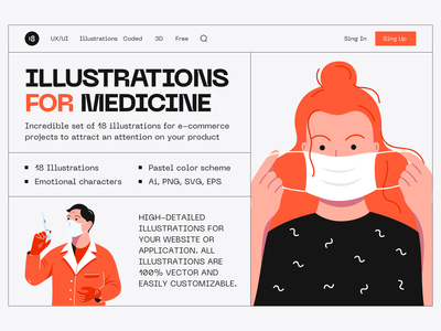 Medicine illustrations doctor medicine medical mask coronavirus corona minimalistic minimalist minimal clean design vector character interface illustration uidesign clean ui clean ui minimalism 18design
