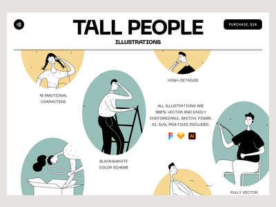 Tall People Illustrations 💎 typogaphy digital character illustrator people illustration minimalistic minimalist minimal colors colorful search vector character interface illustration uidesign clean ui clean ui minimalism 18design