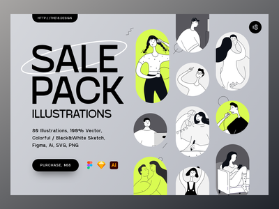 Sale Pack Illustrations typogaphy colors colorful people illustration tall people minimalistic minimalist minimal sale pack sale vector character interface illustration uidesign clean ui clean ui minimalism 18design