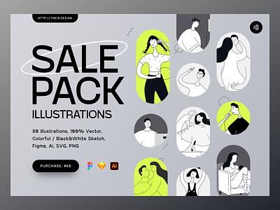 Sale Pack Illustrations typogaphy colors colorful people illustration tall people minimalistic minimalist minimal sale pack sale vector character interface illustration uidesign clean ui clean ui minimalism 18design