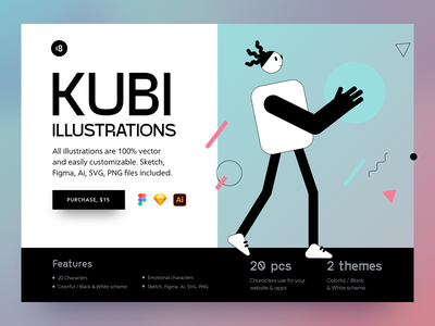 Kubi Illustrations ✨ colors colorful clean design minimalistic minimalist minimal character illustrations characters geometric geometry vector character interface illustration uidesign clean ui clean ui minimalism 18design