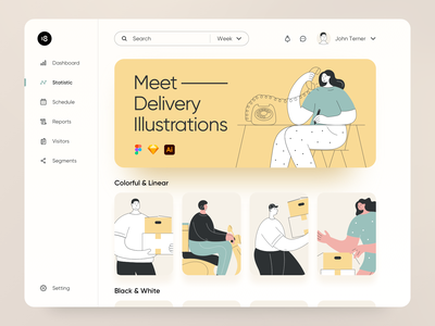 Delivery Illustrations 😍 usability colors colorful calling delivery status delivery truck delivery app dashboard ui dashboard delivery vector character interface illustration uidesign clean ui clean ui minimalism 18design