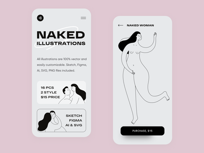 Naked Illustrations typogaphy app colorful colors naked illustration couple illustration sexy couple girl naked vector character interface illustration uidesign clean ui clean ui minimalism 18design