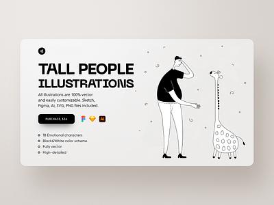 Tall People Illustrations people people illustration character illustration tall people minimalistic minimalist minimal typogaphy colorful colors vector character interface illustration uidesign clean ui clean ui minimalism 18design