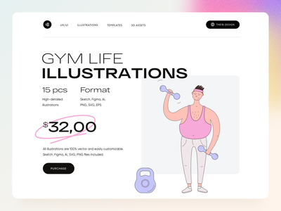 GYM LIFE Illustrations colorfull colorful minimal gym illustation sport illustration sport gym website gymnastics gym app gym vector character interface illustration uidesign clean ui clean ui minimalism 18design