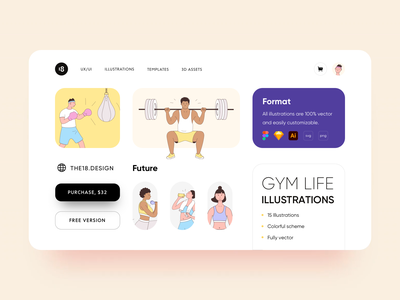 GYM LIFE Illustrations webdesign dashboard svg minimalism ui gym illustration sport illustration minimalims typography colors colorful gym illustrations gym sport illustration uidesign clean ui clean ui minimalism 18design